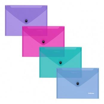 Папка-конверт с кнопкой С6 Glossy Vivid  полупрозр. ассорти ЕК 47122