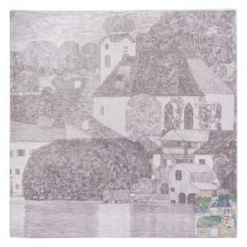 """Холст на картоне с эскизом """" Церковь в Унтерах-ам-Аттерзее"""", 33*33 см"""