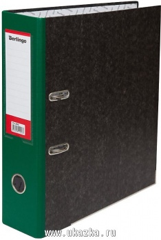 Регистратор А4 70мм мрамор. зеленый, с карманом, нижний метал. кант. ATm_70504