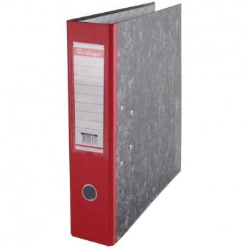 Регистратор А4 70мм мрамор. красный, с карманом, нижний метал. кант. ATm_70503
