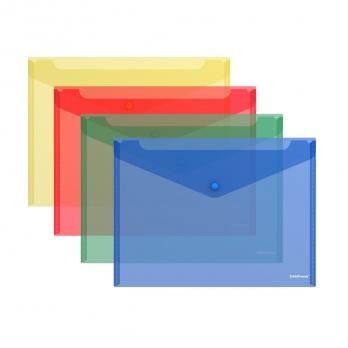 """Папка-конверт с кнопкой В5 """"Classic"""" полупроз., ассорти 47052"""