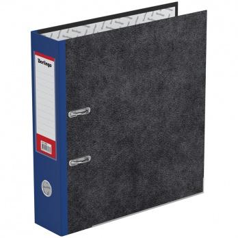 Регистратор А4 70мм мрамор. синий, с карманом, нижний метал. кант. ATm_70502
