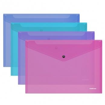 """Папка-конверт с кнопкой B5 """"Glossy Vivid """" полупрозр. ассорти ЕК 47120"""