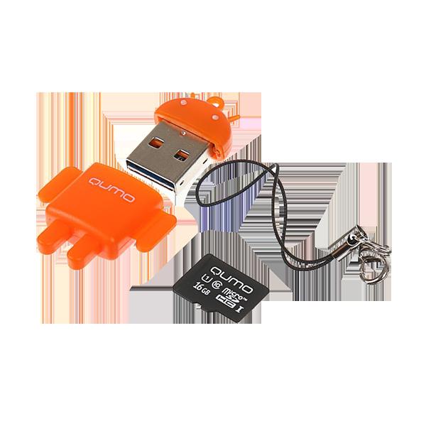 Карта памяти MicroSDHC 16Gb QUMO Class10 + USB Адаптер FUNDROID, Orange RTL