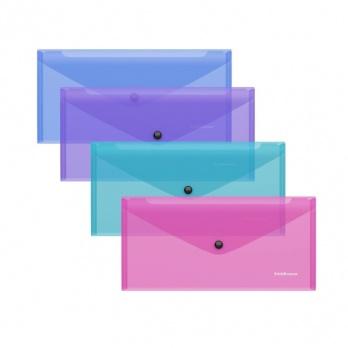 """Папка-конверт с кнопкой Travel """"Glossy Vivid """" полупрозр. ассорти ЕК 47123"""
