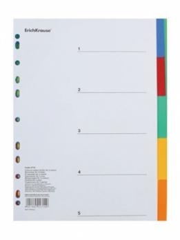 Разделитель А4 цветовой (5цв.), пластик.  1PL-5/цв   ЕК 2714