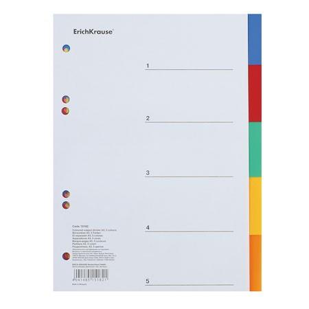 Разделитель А5 цветовой (5цв.), пластик.  ЕК 15182