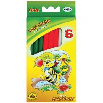 """Пластилин 6цв. """"Гамма. Пчелка"""" воск. мягк., 73гр, со стеком, в к/к   280029"""